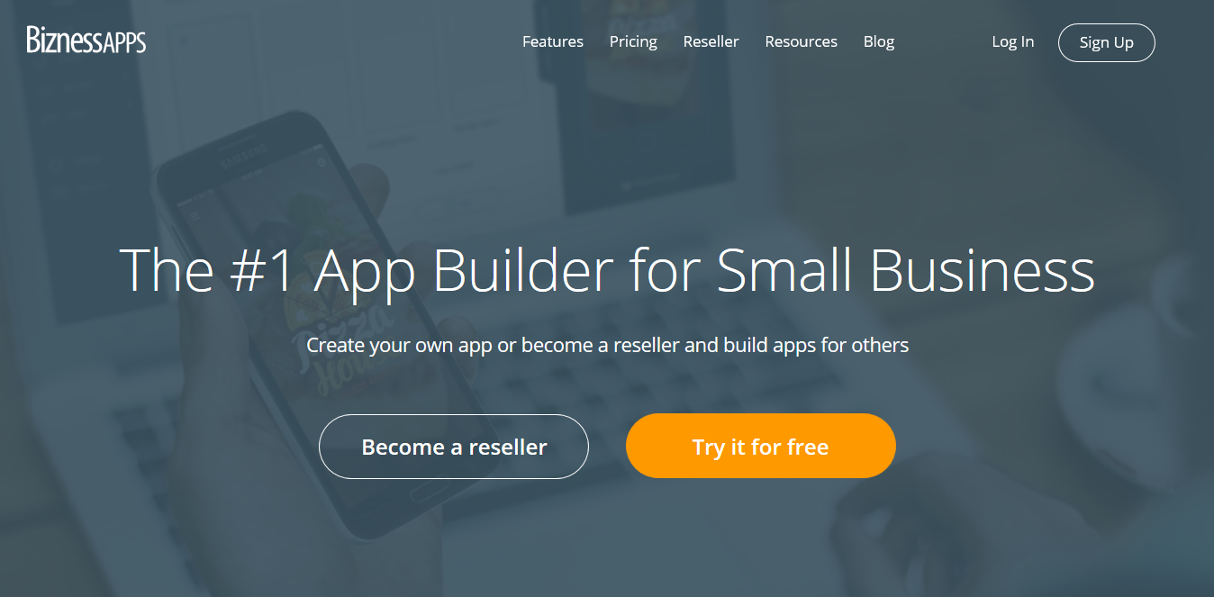 Screenshot 2018 09 16 App Maker Mobile App Builder For Small Business Bizness Apps - Sette delle Migliori Piattaforme per Costruire App Fantastiche